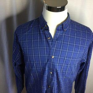 CABELA'S Men's Blue Plaid Long Sleeve Shirt Size L